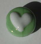 Heart - White on Seafoam Green Glass Lampwork Beads