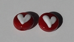Heart - White on Red Glass Lampwork Beads