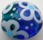Flower Lentil 1 Glass Lampwork Beads