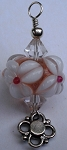 White and Pink Flower Glass Pendant