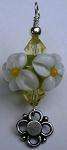 White and Yellow Flower Glass Pendant