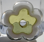 Transparent Green Apple and White Flower Disc Glass Lampwork Beads