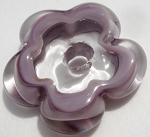 Purple and Clear Flower Disc Glass Lampwork Beads