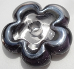 Silver Plum and Clear Flower Disc Glass Lampwork Beads