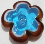 Transparent Turquoise and Topaz Flower Disc Glass Lampwork Beads