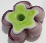 Transparent Purple and Pea Green Flower Disc Glass Lampwork Beads