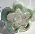 Clear and Copper Green Flower Disc Glass Lampwork Beads