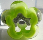 Pea Green and Clear Glass Lampwork Beads
