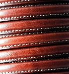 MINI Regaliz™ Leather Oval STITCHED Saddle Brown  per inch