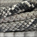 Python Mini Regaliz Leather per inch Grey & White/Natural