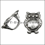 Regaliz™ large owl spacer per piece ANT SILVER