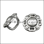 Regaliz™ ornate flower spacer per piece ANT. SILVER