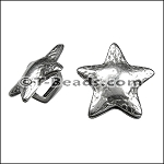 Regaliz™ star fish spacer per piece ANT. SILVER