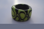 Retro Green Glass Lampwork Bead