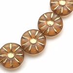 Flower Coin  - Amber with Gold Finish - 12mm