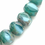 Quardies - Emerald Turquoise Opaline and Transparent with Picasso Finish  - 9x6mm