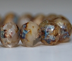 Ivory Crystal Mix Opaque Transparent with Picasso Finish - 7x5mm