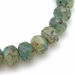 Olivine, Aqua, and White Mix Opaque and Transparent with Picasso Fullcoat - 7x5mm