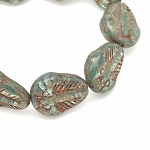 Trilobite - Aqua green with Picasso Finish - 13x11mm