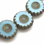 Daisy Flower - Sky Blue Opaque with Picasso - 12mm