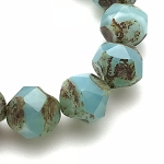 Central Cut Aqua Blue Opaline with Picasso Finish - 9mm