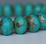 Turquoise Opaque with Picasso finish - 7x5mm