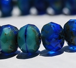 Turquoise and Cobalt Mix Opaque and Transparent with Picasso Finish- 7x5mm