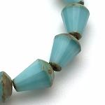 Faceted Drop - Top Cut -Turquoise Silk with Picasso Finish - 8x6mm