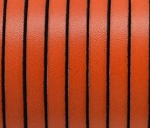 Flat Leather 5mm - per inch Orange and Black