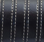 Flat Leather 10mm Stitched Black