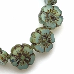 Hibiscus Flower - Aqua Blue Opaline with Picasso- 10mm