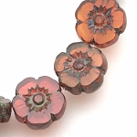 Hibiscus Flower - Transparent Orange with Picasso finish- 9mm