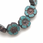 Hibiscus Flower - Turquoise with Bronze - 10mm