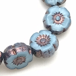 Hibiscus Flower - Sky Blue Silk with Bronze Wash- 9mm