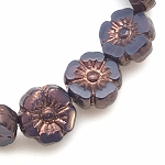 Hibiscus Flower - Purple Opaline with Bronze Finish- 10mm