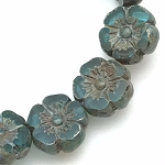 Hibiscus Flower - Blue Turquoise Transparent with Picasso finish- 9mm