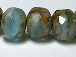 Aqua Amber White Mix Opaque Transparent with Picasso - 7x5mm