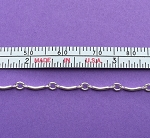 Sterling Silver Chain -  Curved Bar