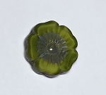 Hibiscus Flower - Lime Green Silk with Picasso - 22mm