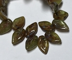 Small Leaf - Olivine and Ivory Mix with Blue Picasso Finish - 10x6mm