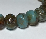 Turquoise Blue Amber Mix Opaque Transparent with Picasso  - 9x6mm