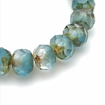 Aqua Opaline and Crystal Transparent Mix with Picasso Finish  - 9x6mm