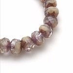 Ivory and Crystal Mix Opaque and Transparent with Bronze Finish - 9x6mm