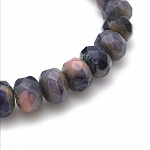Amethyst Purple Silk Mix Opaque Transparent with Picasso  - 9x6mm