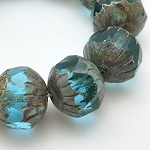 Center Faceted Round- Aqua Blue Transparent with Picasso Finish - 11x10mm