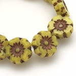 Hibiscus Flower - Bright Yellow Opaline with Dark Bronze Wash- 7mm