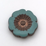 Hibiscus Flower - Turquoise with Bronze - 22mm
