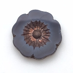 Hibiscus Flower - Purple Opaline with Bronze - 22mm