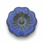 Hibiscus Flower - Sapphire Blue Silk with Picasso - 22mm