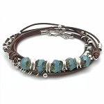 Czech Glass & Leather Bracelet Kit - Brown & Aqua